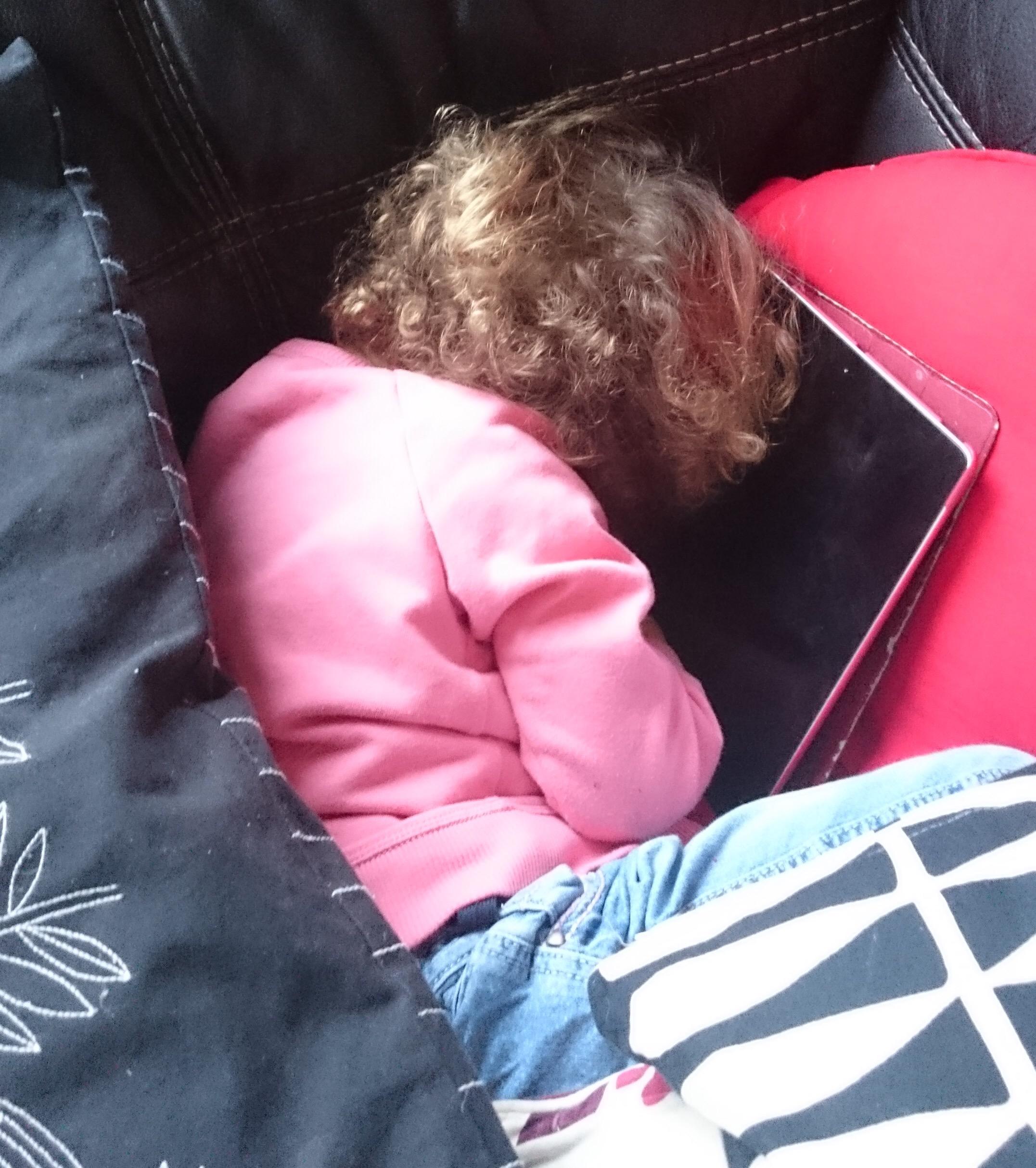 Girlbug asleep on the sofa